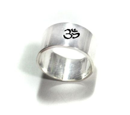 Custom Made Sterling Silver Wide Ring, Hand Stamped With Ohm Symbol. Solid Silver Closed Band, Customizable.