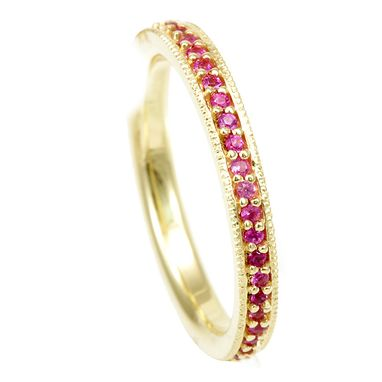 Custom Made Pink Sapphire Eternity Ring In 18k Yellow Gold, Forever Ring, Promise Ring