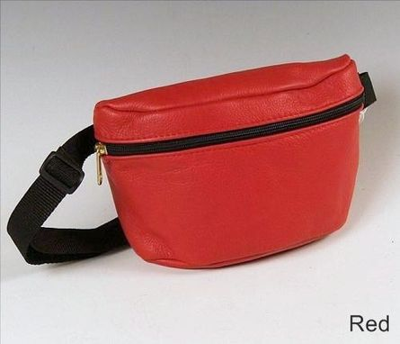 Custom Made Small Hip Pack, Red Leather