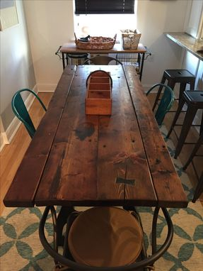 Custom Made Reclaimed Industrial Drop Leaf Dining Table