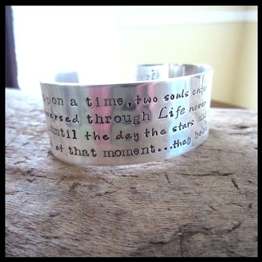 Custom Made Hand Stamped Wide Sterling Poetry Cuff