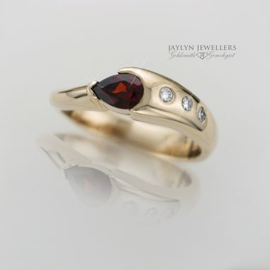 Custom Made Sweet 16 Garnet And Diamond Ring