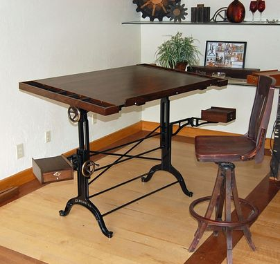 Custom Made Walnut Iron And Bronze Dual Taboret Custom Drafting Table