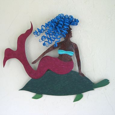 "Custom Made Handmade Upcycled Metal Mermaid And Turtle Wall Art Sculpture ""Adrianna And Otto''"