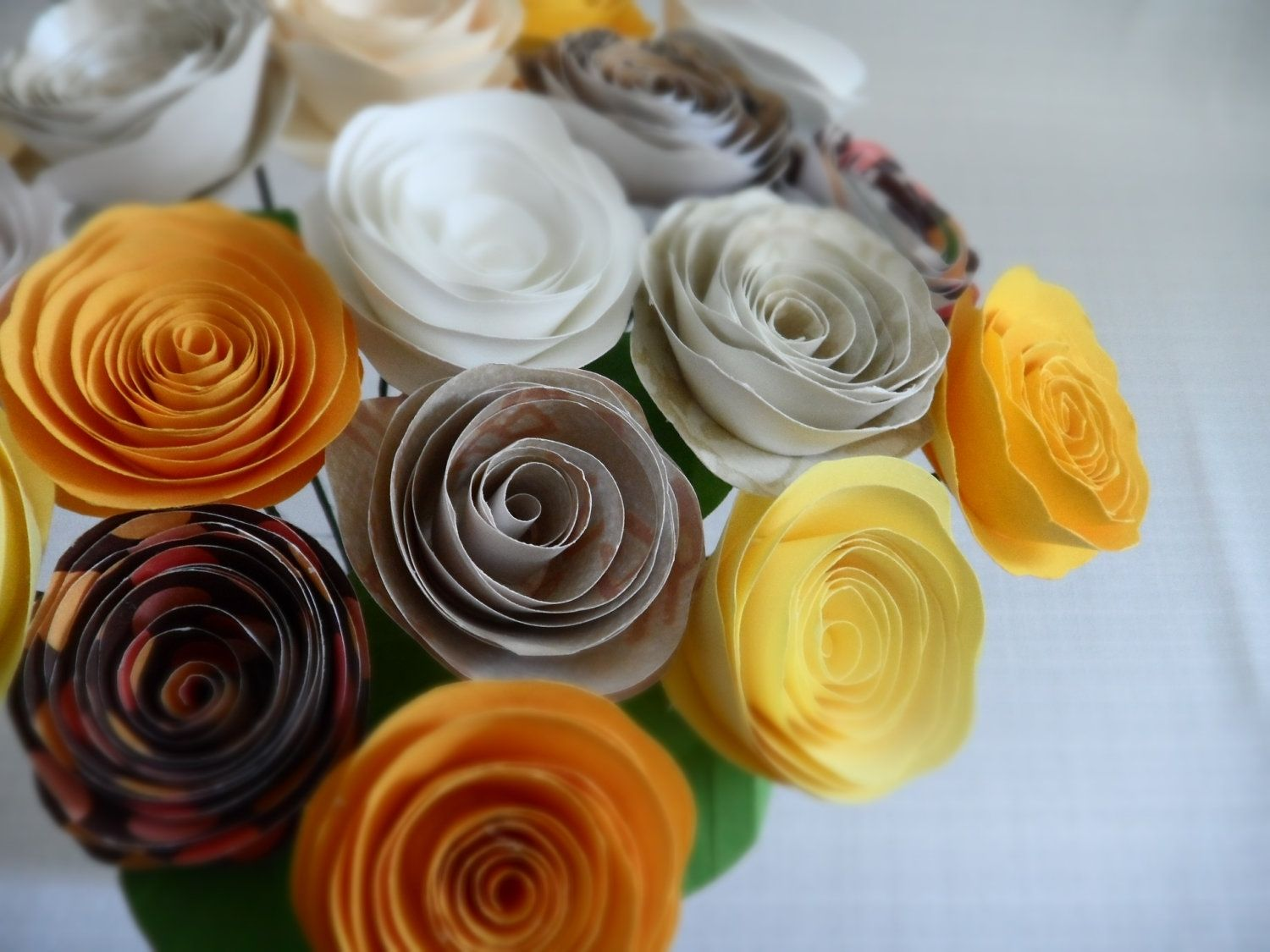 Handmade Spiral Paper Roses Apricot Bouquet By Dear Betsy