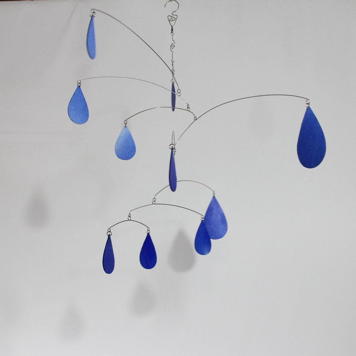 Custom Made Rain Drops Art Mobile Spring Shower Hanging