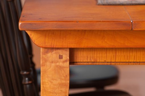 Custom Made Tiger Maple Farm Table With Tapered Legs