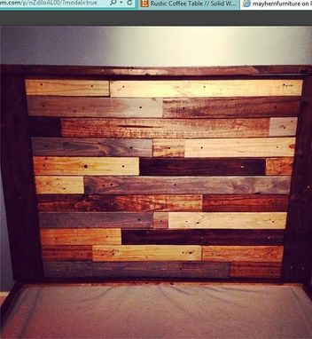 Custom Made Rustic Platform Bed W/ Multicolor Plank Headboard //Rustic Furniture