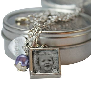 Custom Made Birthstone Charm Bracelet With Hand Stamped Charm And Photo Charms