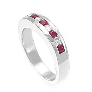 Custom Made Ruby And Round Diamond Ring
