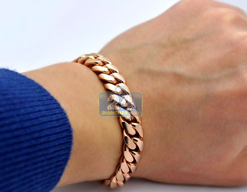 Custom Made Solid 14k Rose Gold Miami Cuban Link Mens Bracelet 10.5 Mm 8 Inches