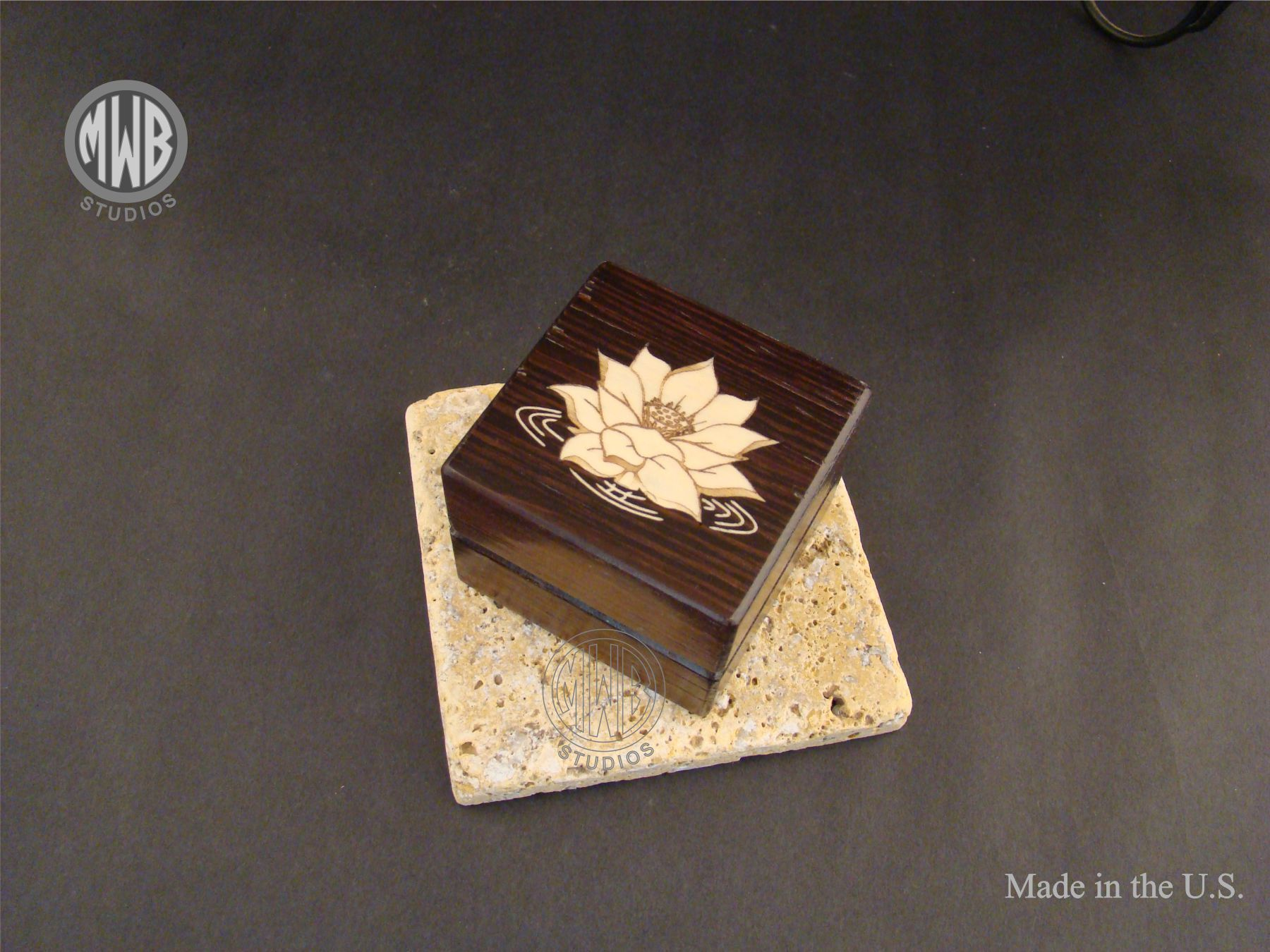 Buy A Custom Made Inlaid Lotus Flower On Box Made Of Solid Wenge