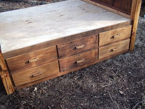 Custom Made 12 Drawer Rustic Reclaimed Wood Platform Storage Bed