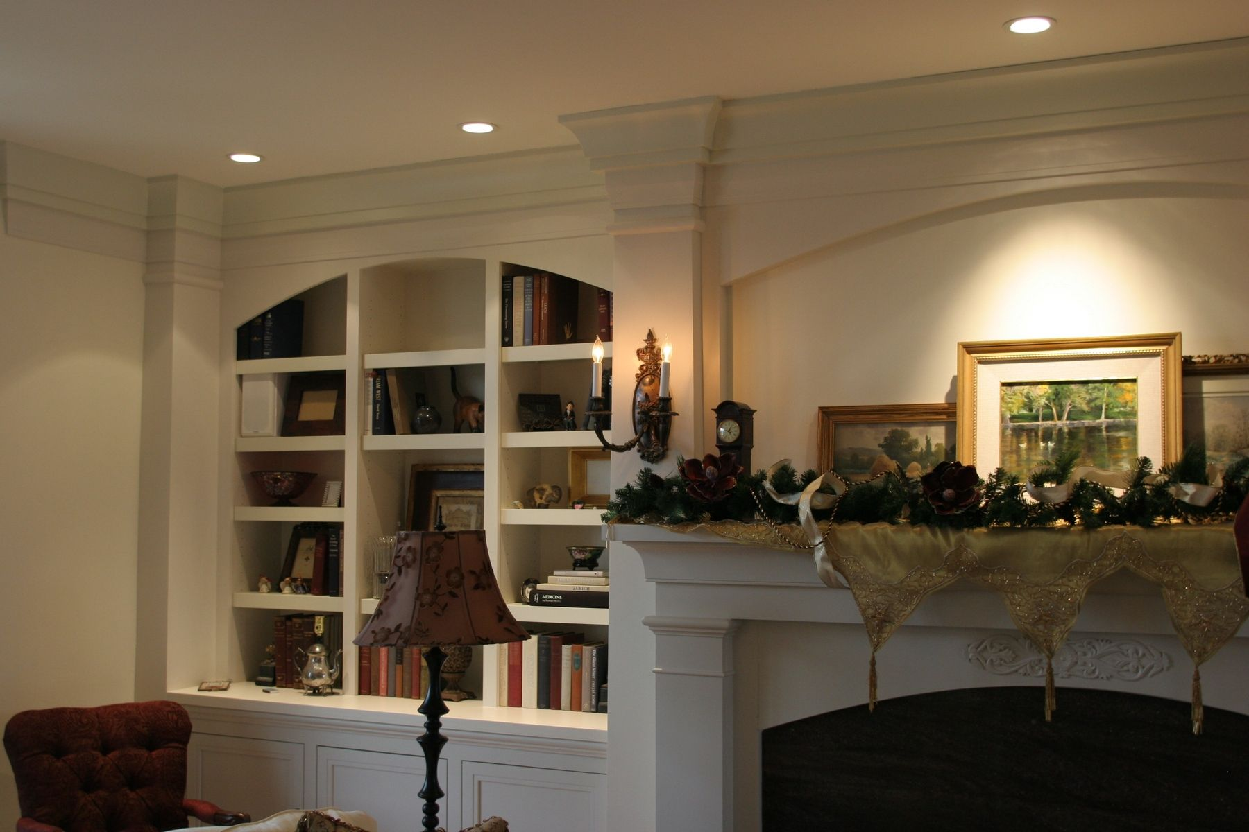 Hand Made Fireplace Mantle Surround And Bookcase By