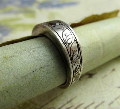 Custom Made Engraved Gold Ring With Gemstone