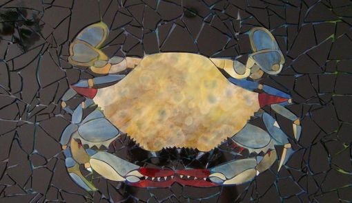 Custom Made Wall Decor Blue Crab Mosaic Lightbox