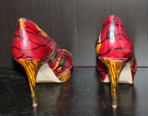 Custom Made Women Shoes Rebranded With Ankara African Fabric - Burgundy - Red