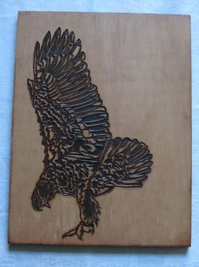 Custom Made Handmade Carved Wood Swooping Bird Of Prey Wall Hanging