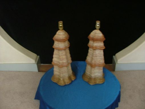Custom Made Pair Of 2 Pillar Table Lamps