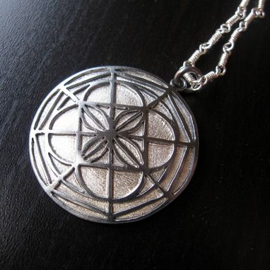 Custom Made Sterling Silver Kenpo Karate Universal Pattern Pendant With Handmade Chain By Cristina Hurley