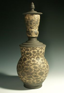 Custom Made Large Patterned Stoneware Bottle