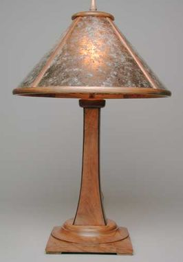 Custom Made Aurora Arts-And-Crafts Table Lamp With Wood Framed Mica Shade