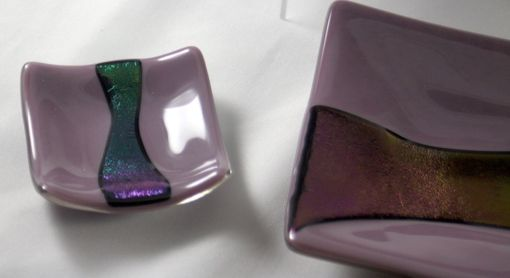 Custom Made Purple And Iridescent Black Glass Sushi Set For Two