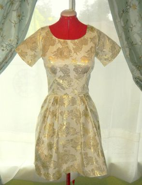 Custom Made Custom Made 1960s Silk Brocade Mini Dress With Boatneck Tie Collar