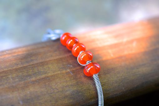 Custom Made Quincy: Salvaged Vintage Orange Flux Glass Lampwork Bracelet By The Big Purple Barn