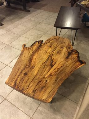 Custom Made Coffee Table,Live Edge,Natural Wood,Woodworking,Steel Frame,Pecan Wood