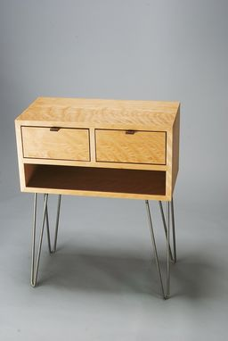 Custom Made European Beech Mid-Century Side Table