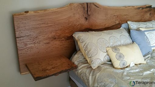 Custom Made Live-Edge White Oak Headboard With Built-In End Tables
