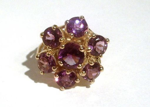 Custom Made Sterling Silver And 18 Kt Gold Vermeil Flower Cocktail Ring With Faceted Purple Amethyst