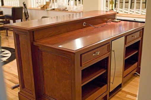 Custom Made Walnut And Burl Freestanding Bar