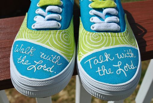 Custom Made Christian Themed Hand Painted Sneakers Size