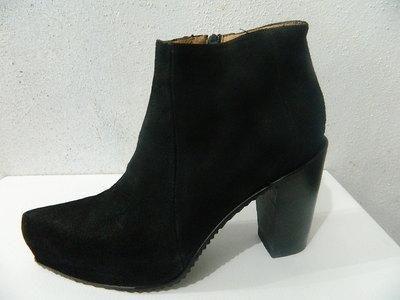 Handmade Black Suede Hidden 1´´Platform Ankle Boot New Sharp Toe ...
