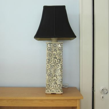 Custom Made Table Lamp In Cream With Black Flowers