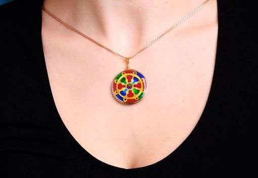 Custom Made Eightfold Path Cloisonné Enamel Pendant In 24k Gold