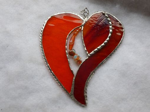Custom Made Orange And Red Stained Glass Heart With Beads And Crystals