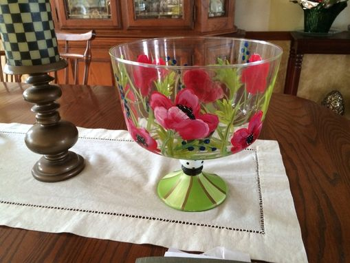 Custom Made Hand Painted Trifle Bowl/Punch Bowl/Glassware Centerpiece Red Poppys