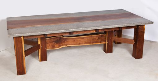 Custom Made Live Edge Walnut And Concrete Conference Table