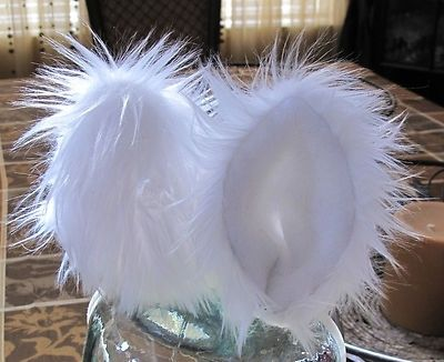 Custom Made Pure White Luxury Long Pile Shag Faux Fur Cat Ears With Metal Snap Hair Clips