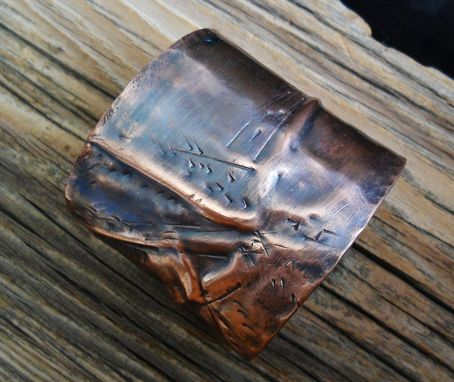 Custom Made Wide Copper Cuff Bracelet With Folded Design
