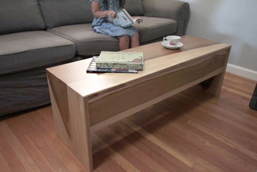Custom Made Wood Waterfall Bench + Coffee Table In Sun Tanned Poplar