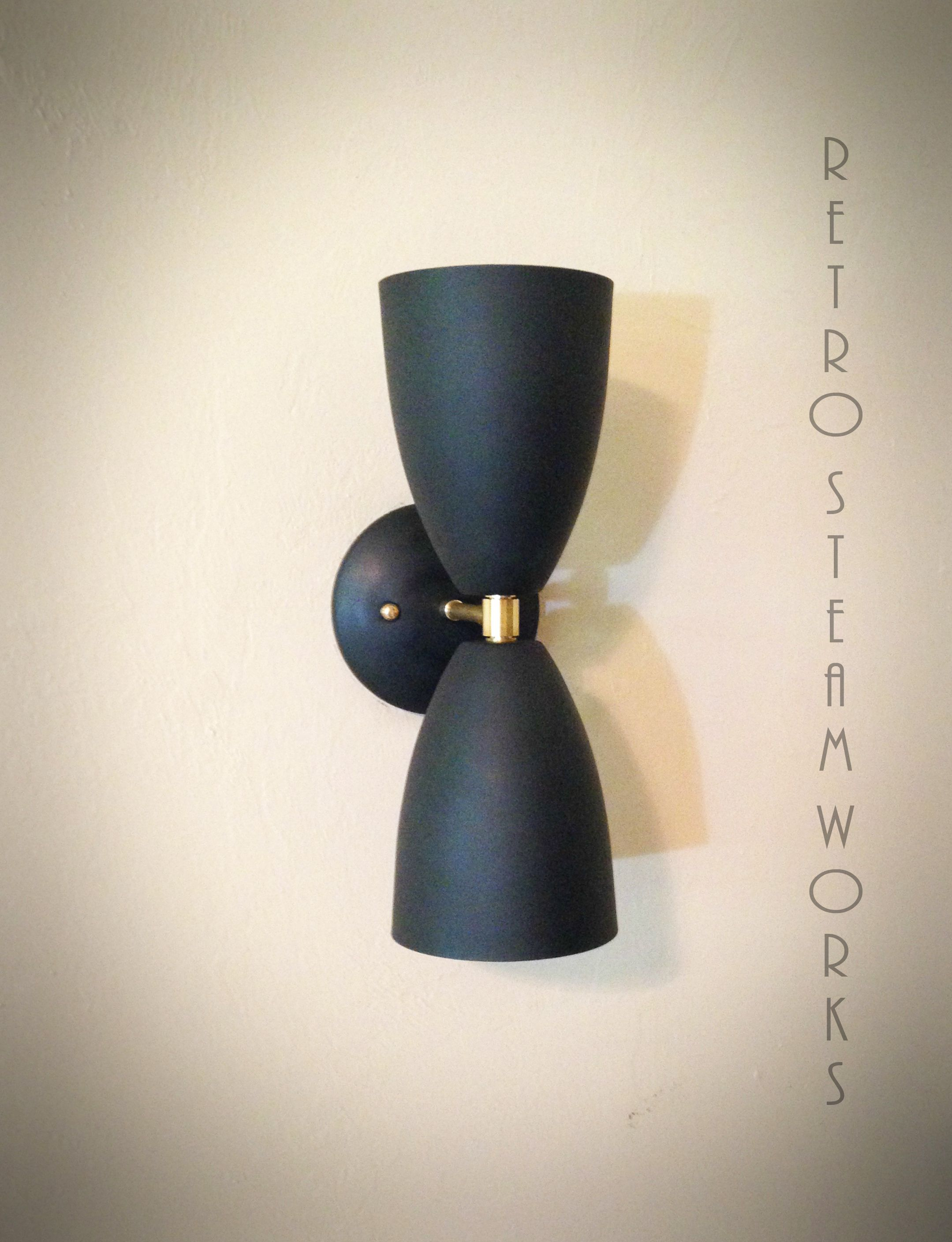 Modern Mid Century Wall Mount Light Matte Black Brass Loft Sconce