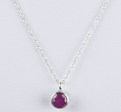 Custom Made Sterling Silver Faceted Ruby Astrology Pendant Necklace July
