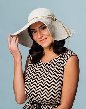 Custom Made Cream Straw Flop Hat