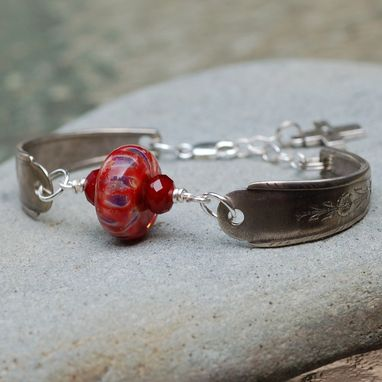 Custom Made Lampwork Silverware Bracelet Boro Glass Bead Antique Spoon Jewelry - Faith