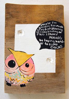 Custom Made Owl In Pink And Yellow - Quote From Max Fischer From Wes Anderson's Rushmore