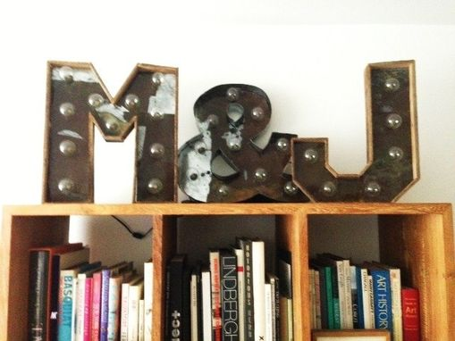 Custom Made Reclaimed Wood And Steel Industrial Letters 20 Inches